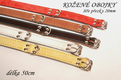 Kožený obojek červený, délka 50cm, šířka 24mm