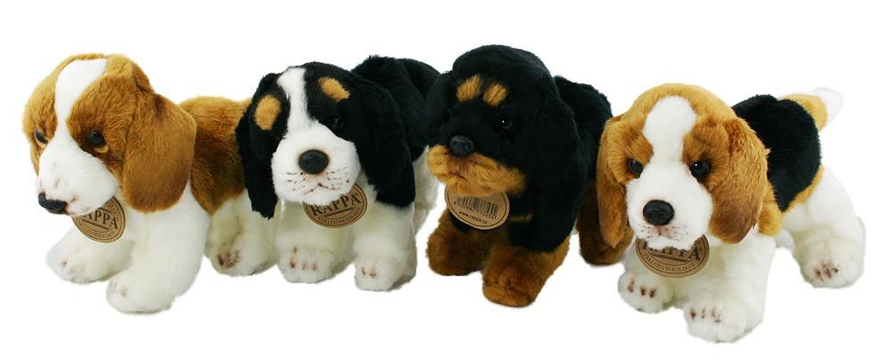 Plyšový pes Bígl stojící 16cm
