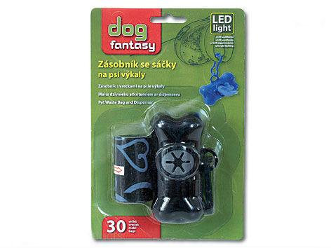 Zásobník LED plus sáčky na psí výkaly černý